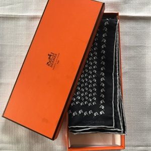 Hermes Paris silk Pocket square with Stick horses